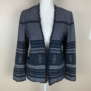NWT. Loft Navy/White Plaid Open Jacket. Size M.
